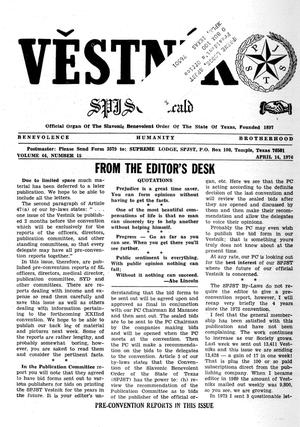 Primary view of object titled 'Věstník (West, Tex.), Vol. 64, No. 15, Ed. 1 Wednesday, April 14, 1976'.