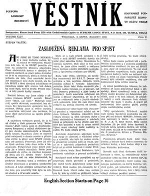 Primary view of object titled 'Věstník (West, Tex.), Vol. 44, No. 31, Ed. 1 Wednesday, August 8, 1956'.