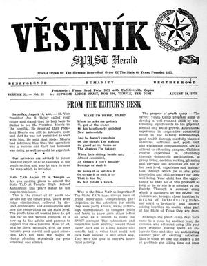 Primary view of object titled 'Věstník (West, Tex.), Vol. 59, No. 33, Ed. 1 Wednesday, August 18, 1971'.