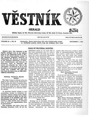 Primary view of object titled 'Věstník (West, Tex.), Vol. 54, No. 49, Ed. 1 Wednesday, December 7, 1966'.