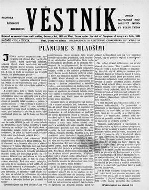Primary view of object titled 'Věstník (West, Tex.), Vol. 39, No. 48, Ed. 1 Wednesday, November 28, 1951'.