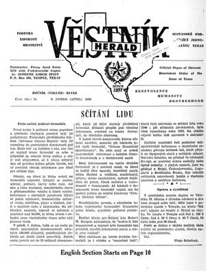 Primary view of object titled 'Věstník (West, Tex.), Vol. 48, No. 14, Ed. 1 Wednesday, April 6, 1960'.