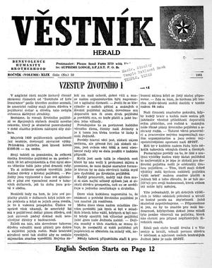 Primary view of object titled 'Věstník (West, Tex.), Vol. 49, No. 10, Ed. 1 Wednesday, March 8, 1961'.