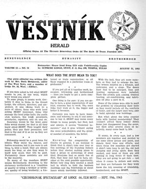 Primary view of object titled 'Věstník (West, Tex.), Vol. 53, No. 34, Ed. 1 Wednesday, August 25, 1965'.