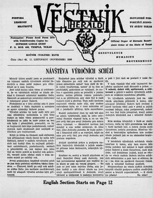 Primary view of object titled 'Věstník (West, Tex.), Vol. 47, No. 45, Ed. 1 Wednesday, November 11, 1959'.