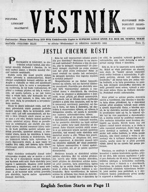 Primary view of object titled 'Věstník (West, Tex.), Vol. 43, No. 11, Ed. 1 Wednesday, March 16, 1955'.