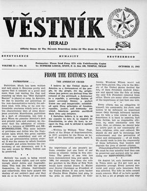 Primary view of object titled 'Věstník (West, Tex.), Vol. 53, No. 41, Ed. 1 Wednesday, October 13, 1965'.