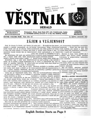 Primary view of object titled 'Věstník (West, Tex.), Vol. 49, No. 33, Ed. 1 Wednesday, August 16, 1961'.