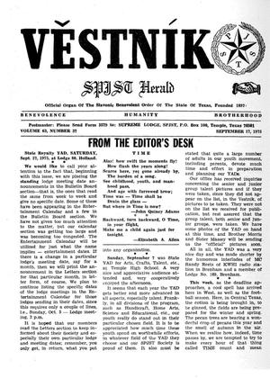 Primary view of object titled 'Věstník (West, Tex.), Vol. 63, No. 37, Ed. 1 Wednesday, September 17, 1975'.