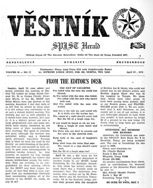 Primary view of object titled 'Věstník (West, Tex.), Vol. 58, No. 17, Ed. 1 Wednesday, April 29, 1970'.