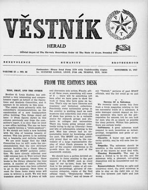 Primary view of object titled 'Věstník (West, Tex.), Vol. 55, No. 46, Ed. 1 Wednesday, November 15, 1967'.