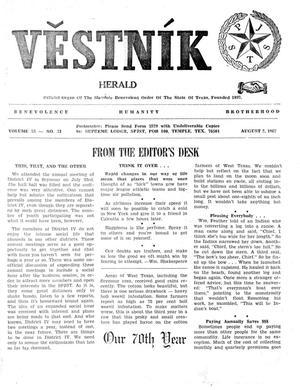 Primary view of Věstník (West, Tex.), Vol. 55, No. 31, Ed. 1 Wednesday, August 2, 1967