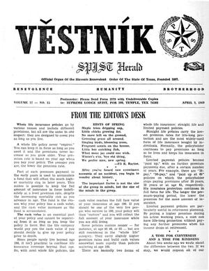 Primary view of object titled 'Věstník (West, Tex.), Vol. 57, No. 15, Ed. 1 Wednesday, April 9, 1969'.