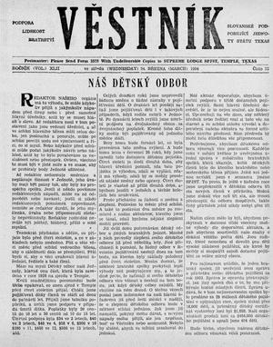Primary view of object titled 'Věstník (West, Tex.), Vol. 42, No. 12, Ed. 1 Wednesday, March 24, 1954'.