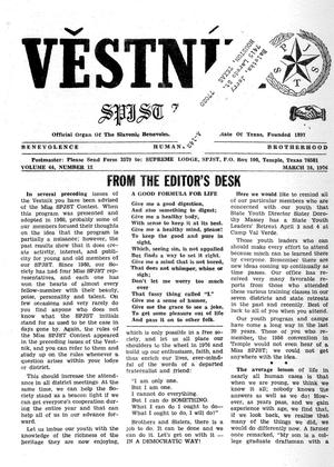 Primary view of object titled 'Věstník (West, Tex.), Vol. 64, No. 12, Ed. 1 Wednesday, March 24, 1976'.
