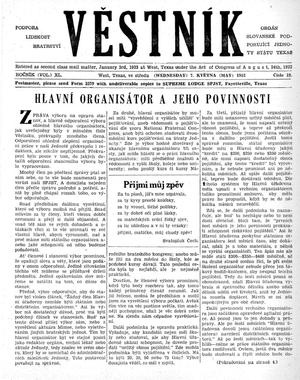Primary view of Věstník (West, Tex.), Vol. 40, No. 19, Ed. 1 Wednesday, May 7, 1952