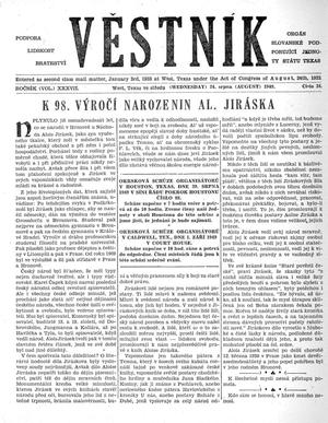 Primary view of object titled 'Věstník (West, Tex.), Vol. 37, No. 34, Ed. 1 Wednesday, August 24, 1949'.