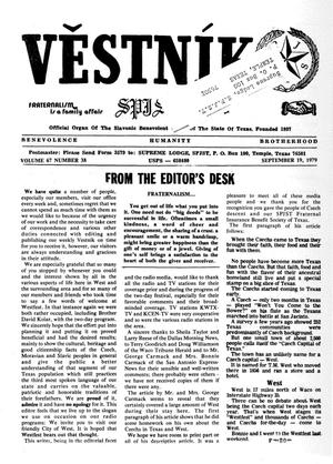 Primary view of object titled 'Věstník (West, Tex.), Vol. 67, No. 38, Ed. 1 Wednesday, September 19, 1979'.