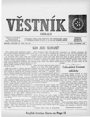 Primary view of Věstník (West, Tex.), Vol. 50, No. 40, Ed. 1 Wednesday, October 3, 1962