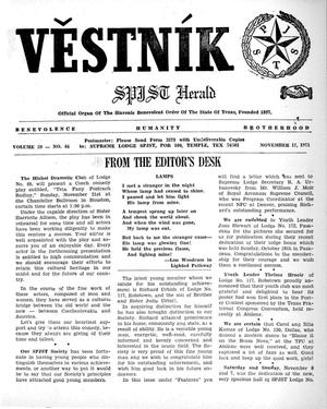 Primary view of object titled 'Věstník (West, Tex.), Vol. 59, No. 46, Ed. 1 Wednesday, November 17, 1971'.