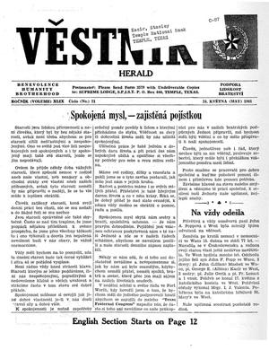 Primary view of object titled 'Věstník (West, Tex.), Vol. 49, No. 21, Ed. 1 Wednesday, May 24, 1961'.