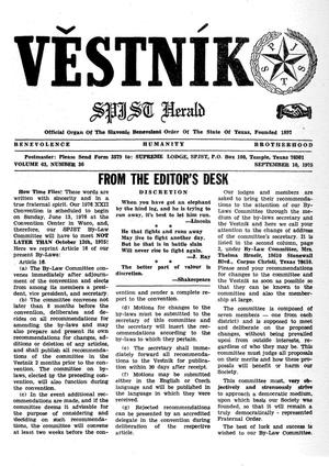 Primary view of object titled 'Věstník (West, Tex.), Vol. 63, No. 36, Ed. 1 Wednesday, September 10, 1975'.