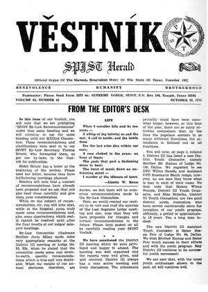 Primary view of object titled 'Věstník (West, Tex.), Vol. 63, No. 43, Ed. 1 Wednesday, October 29, 1975'.