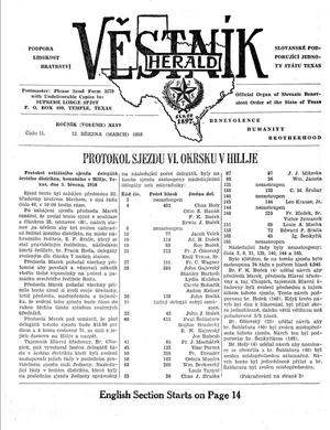 Primary view of object titled 'Věstník (West, Tex.), Vol. 46, No. 11, Ed. 1 Wednesday, March 12, 1958'.