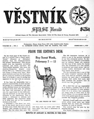 Primary view of object titled 'Věstník (West, Tex.), Vol. 58, No. 5, Ed. 1 Wednesday, February 4, 1970'.