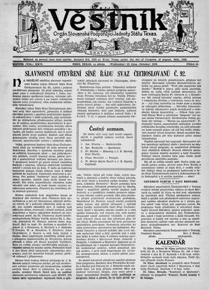 Primary view of Věstník (West, Tex.), Vol. 26, No. 41, Ed. 1 Wednesday, October 12, 1938