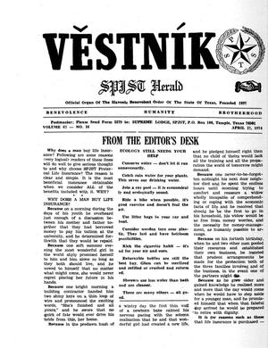 Primary view of object titled 'Věstník (West, Tex.), Vol. 62, No. 16, Ed. 1 Wednesday, April 17, 1974'.