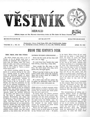 Primary view of object titled 'Věstník (West, Tex.), Vol. 54, No. 16, Ed. 1 Wednesday, April 20, 1966'.