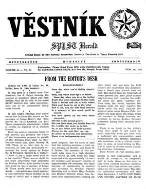 Primary view of object titled 'Věstník (West, Tex.), Vol. 61, No. 25, Ed. 1 Wednesday, June 20, 1973'.