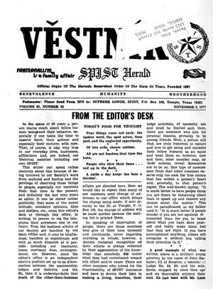 Primary view of object titled 'Věstník (West, Tex.), Vol. 65, No. 45, Ed. 1 Wednesday, November 9, 1977'.