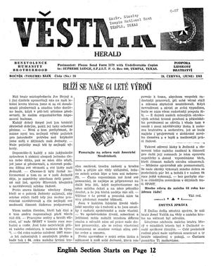 Primary view of object titled 'Věstník (West, Tex.), Vol. 49, No. 26, Ed. 1 Wednesday, June 28, 1961'.