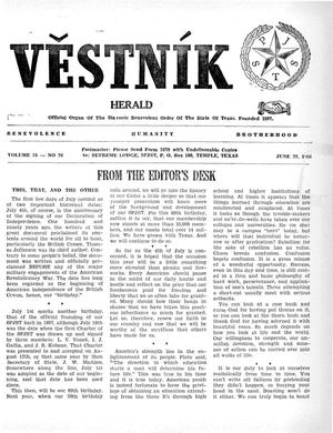 Primary view of object titled 'Věstník (West, Tex.), Vol. 54, No. 26, Ed. 1 Wednesday, June 29, 1966'.