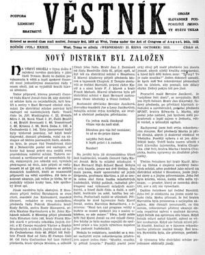 Primary view of object titled 'Věstník (West, Tex.), Vol. 39, No. 44, Ed. 1 Wednesday, October 31, 1951'.