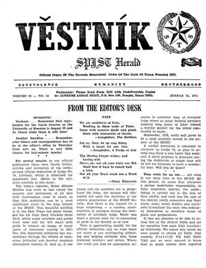 Primary view of object titled 'Věstník (West, Tex.), Vol. 61, No. 34, Ed. 1 Wednesday, August 22, 1973'.