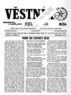 Primary view of object titled 'Věstník (West, Tex.), Vol. 65, No. 37, Ed. 1 Wednesday, September 14, 1977'.