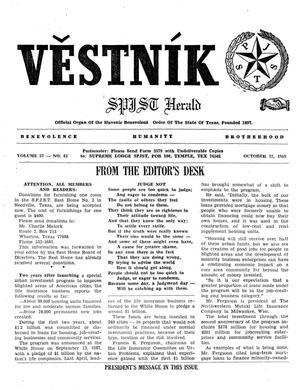 Primary view of object titled 'Věstník (West, Tex.), Vol. 57, No. 43, Ed. 1 Wednesday, October 22, 1969'.