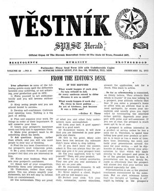 Primary view of object titled 'Věstník (West, Tex.), Vol. 60, No. 8, Ed. 1 Wednesday, February 23, 1972'.