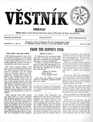 Primary view of object titled 'Věstník (West, Tex.), Vol. 54, No. 28, Ed. 1 Wednesday, July 13, 1966'.