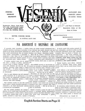Primary view of object titled 'Věstník (West, Tex.), Vol. 48, No. 21, Ed. 1 Wednesday, May 25, 1960'.