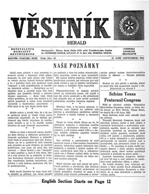 Primary view of object titled 'Věstník (West, Tex.), Vol. 49, No. 39, Ed. 1 Wednesday, September 27, 1961'.