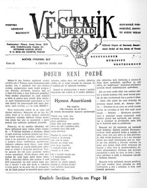 Primary view of object titled 'Věstník (West, Tex.), Vol. 45, No. 23, Ed. 1 Wednesday, June 5, 1957'.