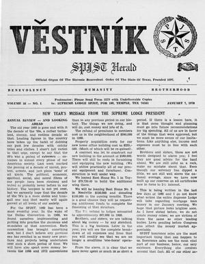 Primary view of object titled 'Věstník (West, Tex.), Vol. 58, No. 1, Ed. 1 Wednesday, January 7, 1970'.