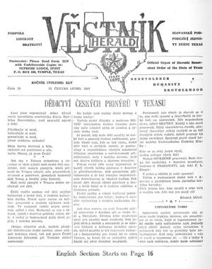 Primary view of object titled 'Věstník (West, Tex.), Vol. 45, No. 24, Ed. 1 Wednesday, June 12, 1957'.