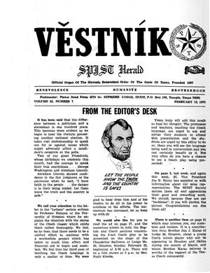 Primary view of object titled 'Věstník (West, Tex.), Vol. 63, No. 7, Ed. 1 Wednesday, February 12, 1975'.