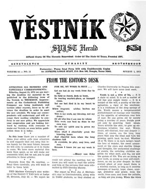 Primary view of object titled 'Věstník (West, Tex.), Vol. 61, No. 31, Ed. 1 Wednesday, August 1, 1973'.