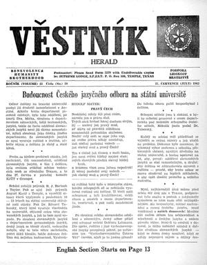 Primary view of object titled 'Věstník (West, Tex.), Vol. 51, No. 29, Ed. 1 Wednesday, July 17, 1963'.